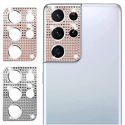 SeNool【2枚】 Galaxy S21 Ultra 5G 用 SC-52B カメラフィルムレンズカバー ラインストーン キラキラ 保護フィルムシルバー&ローズピンクカメラ保護カバー キズ防止3Dデコレーション Galaxy S21 カメラフィルム