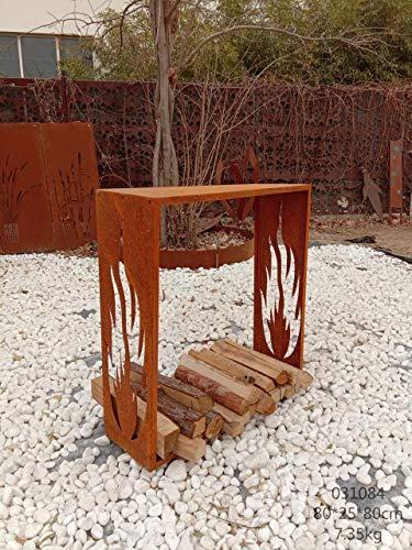 Zen Man Edelrost Kaminholzregal Garten Kaminholzunterstand Holzregal aus Metall Handarbeit 1mm (25 * 80 * 80cm)