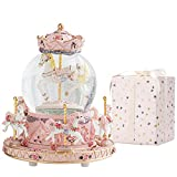 LOVE FOR YOU Carousel Horse Music Box Color Changing LED Lights Musical Snow Globes...