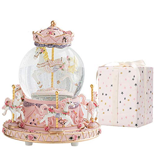 LOVE FOR YOU Christmas Carousel Horse Xmas Music Box Snow Globes,Birthday Gift for Kids Girls, Color...