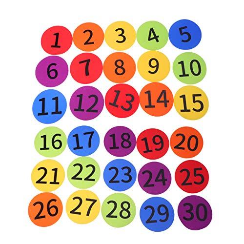 NUOBESTY 30 Stücke Zahlen Markierungsteller Markierteller Spot Marker Anti Slip Floormarker Teppich Sitzen Flecken Marker für Kinder Sport Fußball Basketball