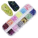 Prima 12Grid Color Mixto Holográfica Silver Nails Art Sparkly Nail Glitter Sequins Hexagon Chunky Invierno DIY Decoración de Manicura Con decoración de uñas (Color : H)