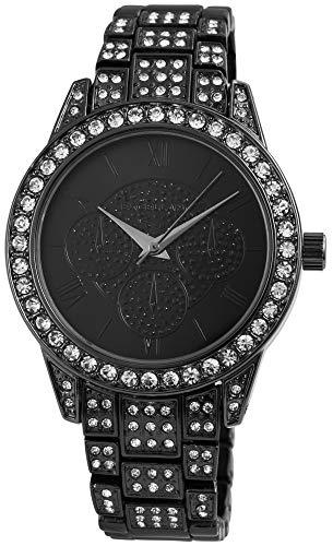 Excellanc Damenuhr Schwarz Titan Strass Römisch Analog Metall Armbanduhr