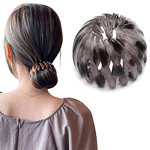 1/4Pcs 2020 Fashion Retro Leopard Print Hairstyle Headbands,Bird's Nest Hair Bands,Expandable Ponytail Holder Clip, Vintage Geometric Hair Bands For women (Gray)