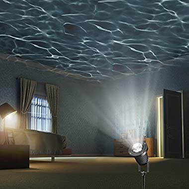 Zeonetak White Automatically Moving Water Wave LED Projector Sleep Soothing Baby Room Night Light Spotlight for Home Party Wedding Decoration(Projection Area 50-80 sq ft)