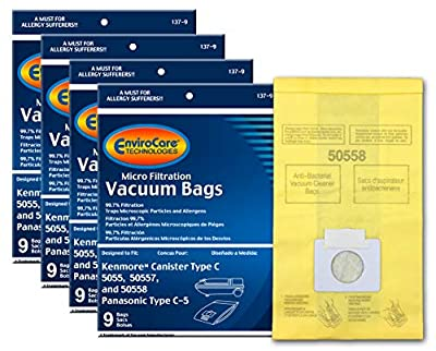 EnviroCare Replacement Micro Filtration Vacuum Bags for Kenmore Canister Q 50555, 50558, 50557 and Panasonic Type C-5 36 Pack, 36 Count