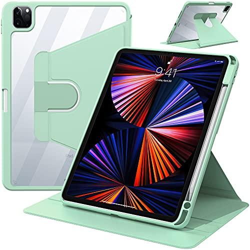 IVSOTEC Funda para iPad Air 4 10.9 Pulgadas / iPad Pro 11 2020/2021/2018 Rotación de 360 °,Automático activación / Bloqueo con Soporte de Carga inalámbrica Ranura lápiz, Cubierta Trasera Transparente
