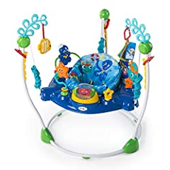 Dive into discovery with ocean themed activities in every direction Bouncy seat swivels 360 degrees from toy to toy. Four height positions 4 height positions are easier to adjust; Toys/Frame are wipe clean Electronic sea turtle station is removable I...