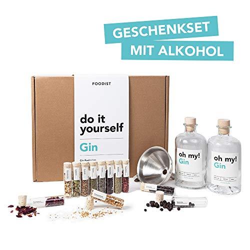 Foodist Gin Baukasten | Gin-Set zum Selbermachen | 12 hochwertige Botanicals | 11 Gin Gewürze | Geschenkset mit Basis- Alkohol 38% (0.5l) für Männer und Frauen inkl. Rezept-Buch und lustigem Gin Quiz