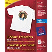 Avery T-Shirt Transfers, For Use on Light Fabrics, Inkjet Printers, 12 Full-Sheet Paper Transfers (03275), White (packaging may vary)