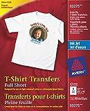 Avery T-Shirt Transfers, For Use on Light Fabrics, Inkjet Printers, 12 Full-Sheet Paper