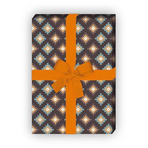 Kartenkaufrausch Azteken cadeaupapier set 4 vellen, decoratief papier met pixel ruiten, bruin, voor leuke geschenkverpakking, patroonpapier om te knutselen 32 x 48 cm