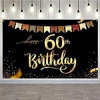 Trgowaul 60歳の誕生日 背景幕 ゴールドとブラック 5.2x3.3フィート 60歳の誕生日パーティーデコレーション バナー レディース メンズ 写真用品 ハッピーバースデー ブラックグラウンド 装飾