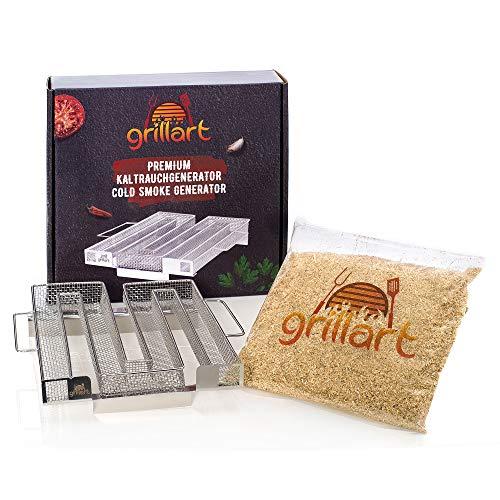 grillart® Premium Sparbrand Kaltrauchgenerator inkl. gratis Erstfüllung – Räucherofen aus 100% Edelstahl hergestellt – hochwertige Räucherschnecke mit Griffen