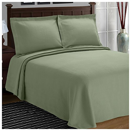 Superior Diamond Solitaire Jacquard Matelassé 100% Premium Cotton Bedspread with Matching Shams, King, Sage