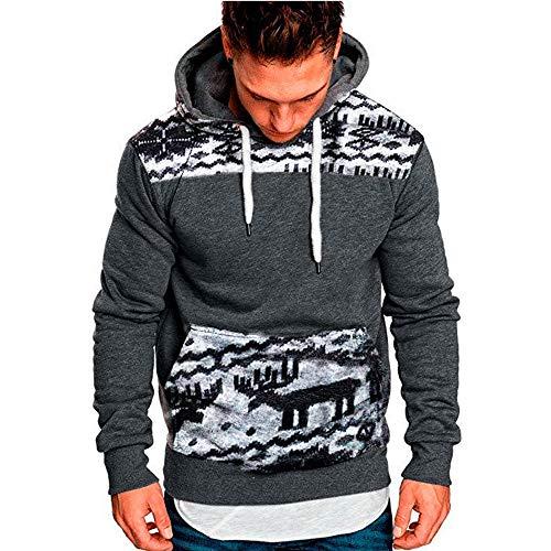 Coloré(TM) Hommes Sweatshirt Hoodies Pour Noël Automne Hiver Décontractée Survêtements Top Blouse (M, Gris)