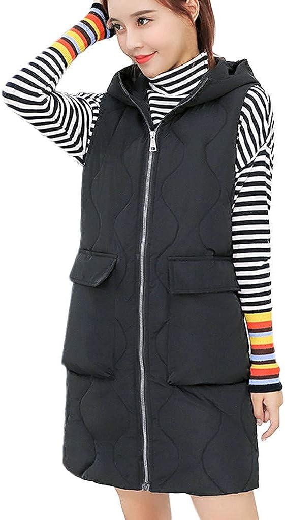 Women's Sturdy Warm Hooded Jacket, Slim Zipper Winter Sleeveless Jacket Vest