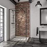 Schulte EP3964120 68 50 Paroi de douche fixe à l'italienne Black Style, Walk In encadré en verre, encadrement noir, 120 x 200 cm