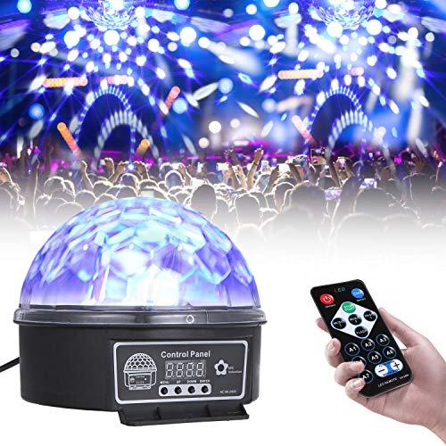 Lixada Luces Discoteca Luz de Escenario Esférica con Control Remoto 6 Canales Luces de Fiesta Activadas por Sonido 6 Colores para Cumpleaños, Discoteca, Fiesta, Bar, Navidad, Bodas