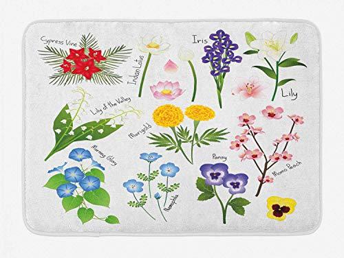 Pansy Alfombra de baño, Marigold Lily Iris Cypress Vine Nemophila Tipos de...