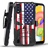 Bemz Armor Combo Samsung Galaxy A01 Phone Case - Heavy Duty Rugged Protector Cover with Removable Belt Clip Holster and Atom Wipe - USA Skull Flag