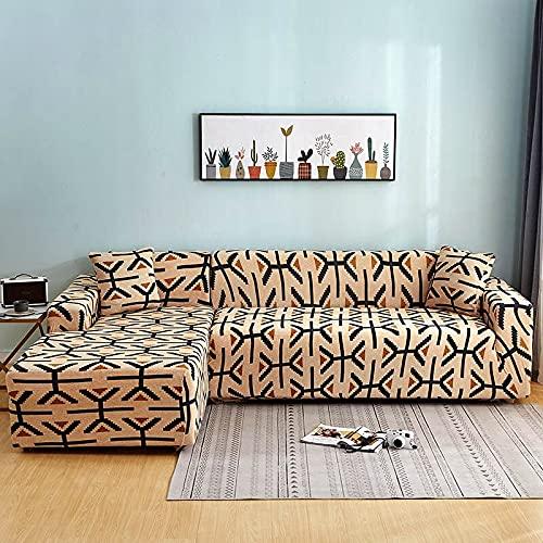 WXQY La Forma de L Necesita Pedir una Funda de sofá de 2 Piezas, una Funda de sillón de Toalla de sofá elástica, para un sofá de Esquina para Proteger los Muebles A20 de 4 plazas