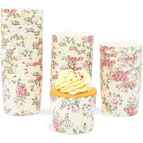 Sparkle and Bash Floral Cupcake Wrappers (Vintage, 50 Pack)