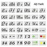 40 plantillas de números de letras para pintar sobre madera, 80 diseños de plantillas para...