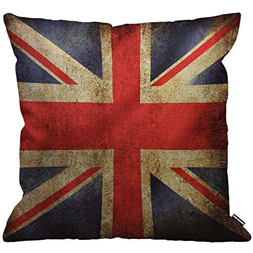 HGOD DESIGNS Kissenbezug Uk Flag Vintage United Königreich Flagge Kissenhülle Haus Dekorativ Für Männer/Frauen/Jungen/Mädchen Wohnzimmer Schlafzimmer Sofa Stuhl Kissenbezüge 45X45cm