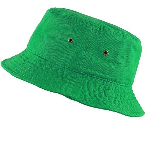 The Hat Depot 300N Unisex 100% Cotton Packable Summer Travel Bucket Hat (L/XL, Kelly Green)