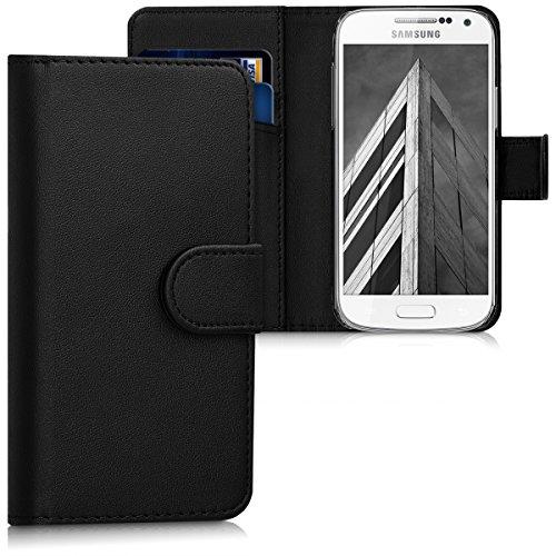 kwmobile Hülle kompatibel mit Samsung Galaxy S4 Mini - Kunstleder Wallet Case mit Kartenfächern Stand in Schwarz