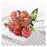 WXL Flores artificiales de peonía de lujo, ramo de flores artificiales, decoración de boda, decoración de mesa para el hogar, flores falsas de hortensias, color rosa
