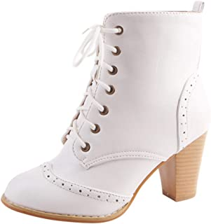 Women's Chunky High Heel Lace Up Ankle Booties Fashion Pointed Toe Chelsea Boots