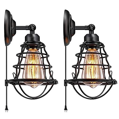 NAMFMS Paquete de 2 luces de pared vintage estilo jaula de alambre Edison con base E26, lámpara de pared industrial con enchufe de 5.9 pies, lámpara de pared rústica para cabecera, dormitorio, porche,