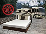 TRAVEL HAPPY with A 8 INCH Short Queen (60' x 75') New Cooler Sleep Graphite Gel Memory Foam Mattress with Premium Textured 8-Way Stretch Cover for Campers, RV's and Trailers Made in The USA