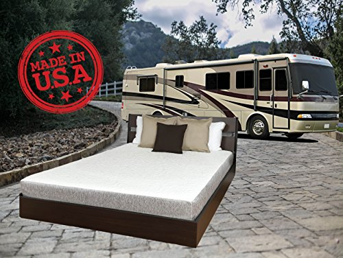 """TRAVEL HAPPY with A 8 INCH Short Queen (60"""" x 75"""") New Cooler Sleep Graphite Gel Memory Foam Mattress with Premium Textured 8-Way Stretch Cover for Campers, RV's and Trailers Made in The USA"""