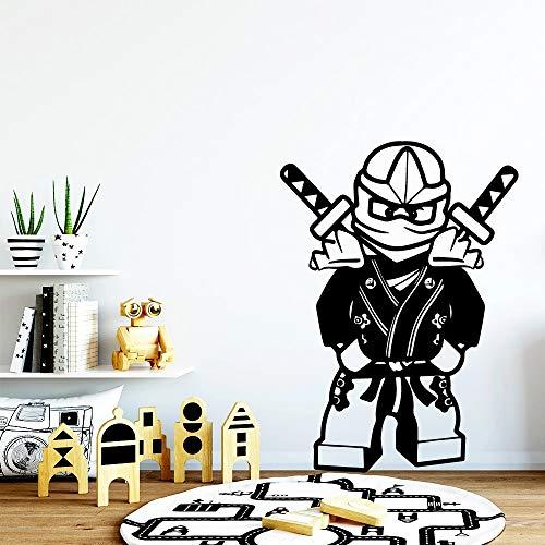 WERWN Arte Creativo Pegatinas de Pared de Moda Habitación Infantil Bloques de construcción Ninja Pegatinas de Pared de Vinilo Pegatinas de Pared