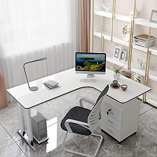 QTWW Escritorio de computadora en Forma de L, Escritorio de Esquina para Juegos con 3 cajones, con Tiras Decorativas Escritorio de computadora de Esquina de Madera ecológico, Puede soportar 250 k
