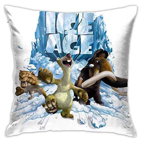 Fodere per cuscini di cartone animato anime dell'era glaciale Fodere per cuscini quadrati Fodere per cuscini divano divano letto decorazioni per la casa morbide borse in poliestere 18 x 18 pollici