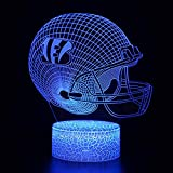 3D Lampe Veilleuse Optique Illusions Casque de l'équipe de rugby 7 Changement de Couleur Acrylique Toucher Tableau Lampe de Bureau pour Cadeau d'anniversaire, Enfants Adultes Chambre Décor