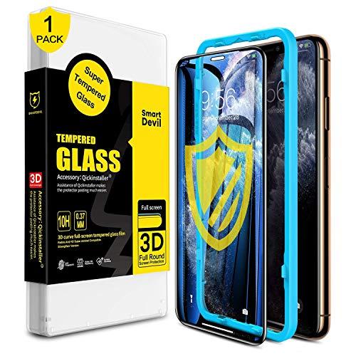 SmartDevil Protector Pantalla de iPhone 11 Pro MAX/iPhone XS MAX,Cristal Templado,Vidrio Templado [Fácil de Instalar] [Alta Definicion] [Garantía de por Vida] para iPhone 11 Pro MAX/iPhone XS MAX