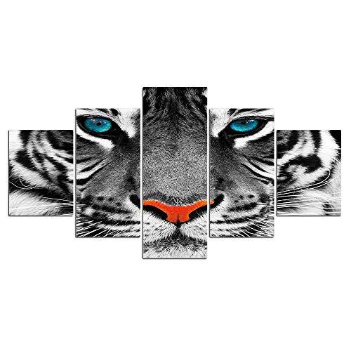 ELSFK Cuadro En Lienzo Póster Animal Tigre Fotos Impresión De 5 Piezas Material Tejido No Tejido Impresión Artística Imagen Gráfica Decor Pared 150x80cm