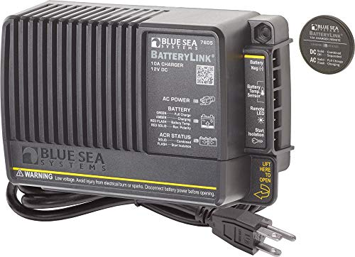 Blue Sea Systems Battery Link Charger 10A 2 Bank with 65A Automatic Charging Relay, 12V