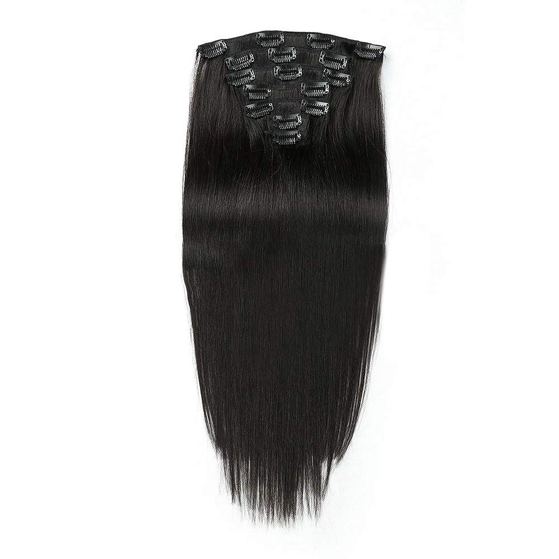アジアラップチップHOHYLLYA 人間の髪の毛の拡張子で14インチクリップ - #1黒7個ロングストレートウィッグ (色 : #1 Black)