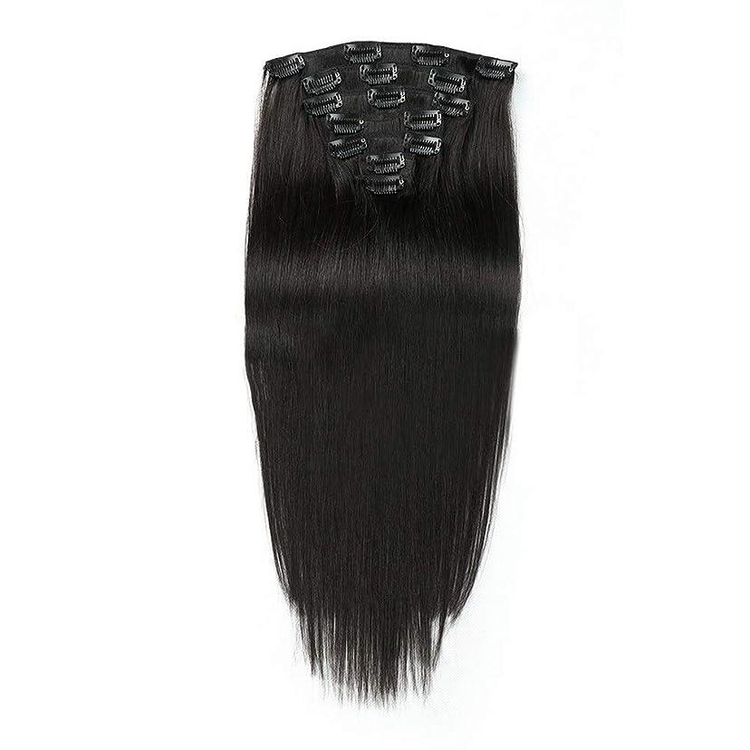 指定するアレルギー槍HOHYLLYA 人間の髪の毛の拡張子で14インチクリップ - #1黒7個ロングストレートウィッグ (色 : #1 Black)