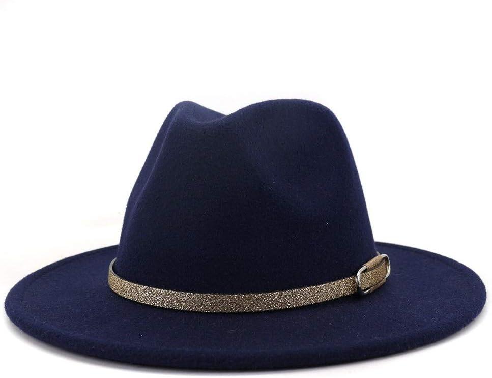 LHZUS Hats Elegant Autumn Winter Classic Fedora Hat Men Women Cotton Sombrero Fashion Party Jazz Borderless Belt (Color : Navy Blue, Size : 56-58cm)