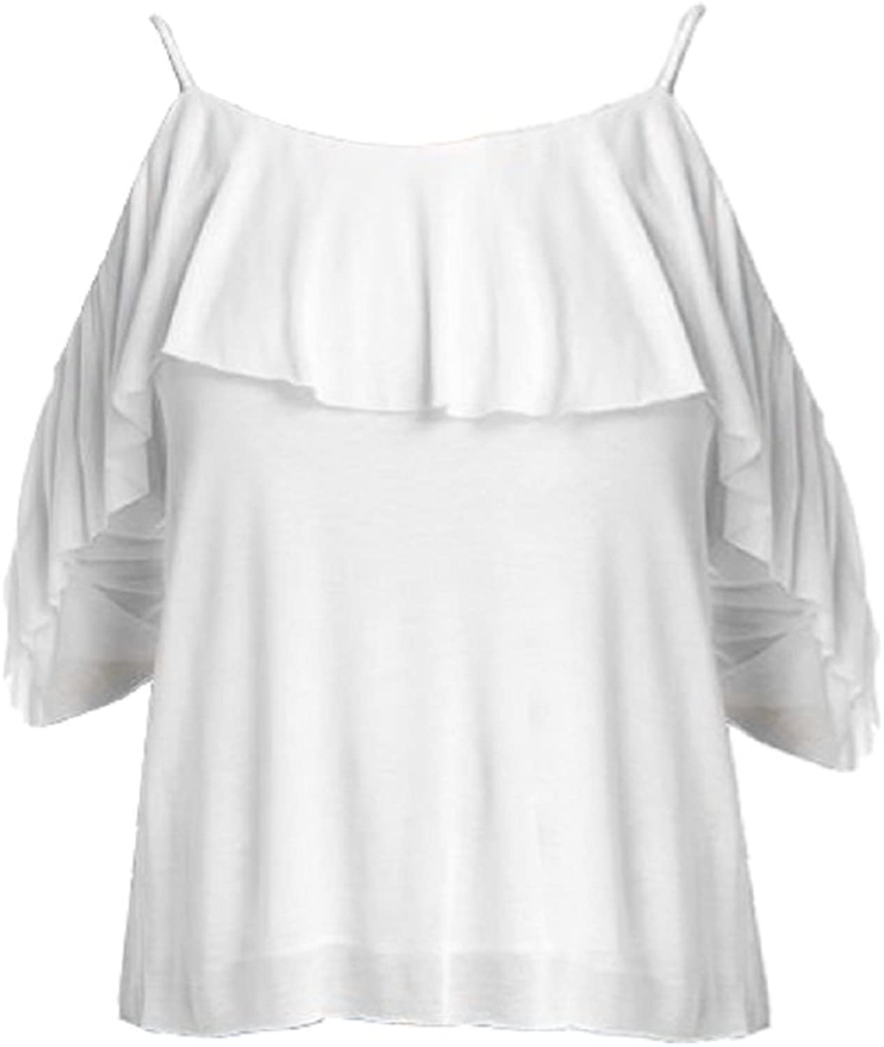 Bailey 44 White Cold Shoulder Havana Layered Top
