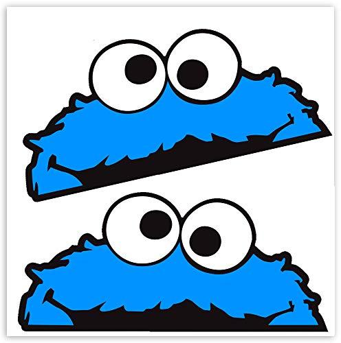 SkinoEu® 2 STÜCK Vinyl Aufkleber Stickers AUTOAUFKLEBER SESAMSTRAßE KRÜMELMONSTER ELMO Cookie Monster LUSTIG Zeichen FÜR Fenster Auto Motorrad Fahrrad Tuning B 99