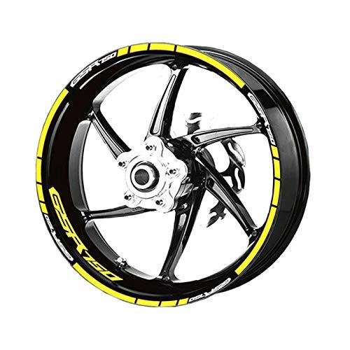 LIJSMZ Motorrad-Radaufkleber Streifen reflektierende wasserdichte Radaufkleber 4 Farben passt für GSR750 (Color : Reflective Yellow)