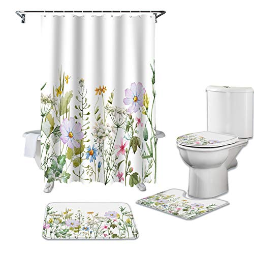 CKKHYCD 3D Duschvorhang Set Blume Vanille WC-Abdeckung Abdeckung Bad rutschfeste Matte Bodenmatte